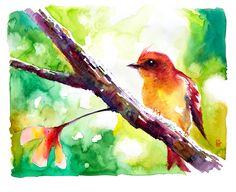 Passarinho 3 é uma impressão Fine Art da aquarela do artista plástico Celso Mathias. Loja: www.passarinhomechamou.com.br