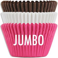 NEW! Jumbo Neapolitan Baking Cup Stack from Layer Cake Shop!  Large 2-1/2 x 1-7/8 size!  #baking #giant #cupcake #muffin #pink #brown #white