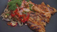 Green mango salad with sambal chicken - from MasterChef Australia Small Food Processor, Food Processor Recipes, Sambal Chicken, Lamb Koftas, Green Mango Salad, Sambal Oelek, Onion Jam, Latest Recipe, Deep Dish