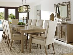 Shadow Play Eleven Piece Dining Set with Concorde Table and Dove Gray Metro Arm Chairs by Lexington at Becker Furniture World