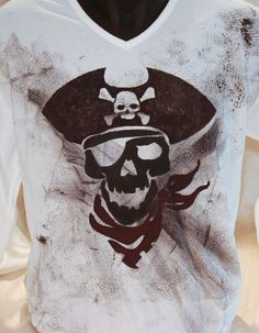 Custom Hand-painted Pirate Skull T-shirt, Casual Mens Shirt for Halloween, Custom Made Crossbones T Shirt, Personalized Tee, Gift for Him. Pirate Hats, Pirate Skull, Burgundy Paint, H&m Brand, October Birthday, Personalized Gifts For Men, Skull Shirts, Jolly Roger, Tshirt Colors
