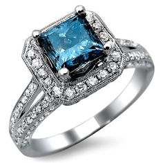 2.29ct Blue Princess Cut Diamond Engagement Ring 18k White Gold