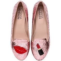Chiara Ferragni Women 10mm Make Up Glitter Loafers (€90) ❤ liked on Polyvore featuring shoes, loafers, flats, pink, pink patent leather flats, flat pumps, patent flats, pink glitter shoes and loafer shoes