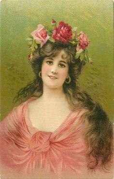 woman with long brown hair, wears deep cleavage pink dress, roses in her hair