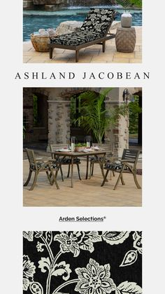 Arden Selections Foam Outdoor Patio Cushions - Ashland Black Jacobean Patio Cushions, Jacobean, The Selection, Outdoor Decor, Prints, Black, Home Decor, Decoration Home, Black People