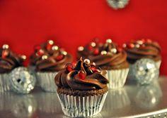 Chocolate Pomegranate Mini Cupcakes