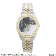 Black Fire II Two-Tone Watch Designed by Artist C.L. Brown and available in a variety of styles on Zazzle. #watch #watches #fashion #accessories #artbyclbrown
