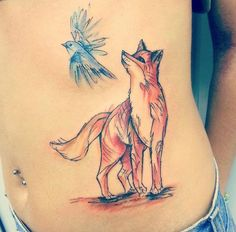 Sketched fox and bird tattoo by Jemka