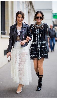 street style black leather jacket and white skirt, black dress