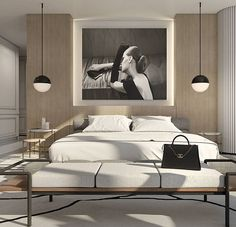 Neutral bedroom palette with black contrasting.