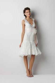 A-line sleeveless lace knee-length bridal gown $360.33