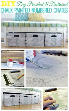 DIY Dry Brushed and Distressed Chalk Painted Numbered Crates at The Happy Housie