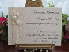 K0044 A6 Flat Postcard Lace Diamante Pearl Evening Invitation, Vintage Lace Wedding Cards