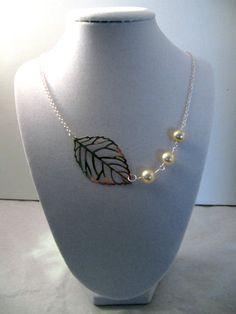 Vintage Bead Leaf Charm Necklace