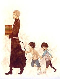 Ao no Exorcist, Okumura Rin, Okumura Yukio, and Shiro. Yep. I don't know his full name. XD