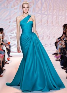 ZUHAIR MURAD | Fall Winter 2014/2015 | Beaded jade body harness over draped chiffon gown