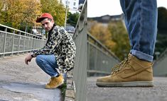 Rick Owens Slab Jeans, Nike Dunk Vac Tech Wheat Pack Sneakers, Carhartt Camo Jacket, Norse Projects 6 Panel Cap