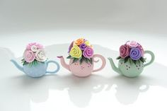 Cute shabby chic miniature teapots made from polymer clay