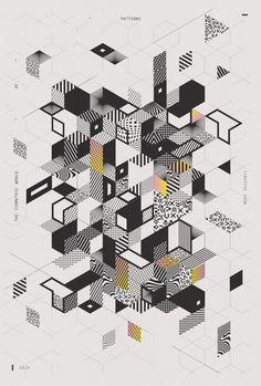 I S O M E T R I C   W O R L D   O F   P A T T E R N S  40x60 cm by Nora Kaszanyi  Plus de découvertes sur Déco Tendency.com #deco #design #blogdeco #blogueur