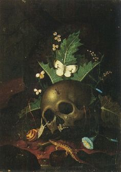 A forest floor still life with a skull, butterfly, snail and lizard, together with convulvuli and other wild flowers by Carl Wilhelm de Hamilton