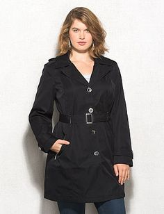 Plus Size Single-Breasted Trench ($74.00)  This one is just the right weight for those cool (but not freezing) days ahead, and water-resistant so it's got your back in an unexpected drizzle.
