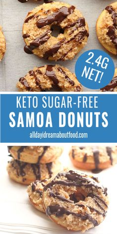 At that point You Will Adore These Keto Samoa Donuts, Topped With Sugar-Free Coconut Caramel And Chocolate. Made With Coconut Flour, They Are Completely Nut-Free And Sugar-Free. Keto Cookies, Donuts Keto, Samoa Cookies, Donuts Donuts, Low Carb Sweets, Low Carb Desserts, Low Carb Recipes, Protein Recipes, Beignets