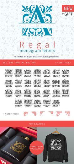 Regal Monogram font SVG Letter, Floral alphabet svg, swirls split svg  Letters, beautiful Monogram cuttable font