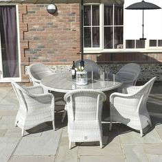 Java 6 Seater Luxury Dining Suite: The Java dining set is characterised by its timeless and elegant look. The rounded chair design is attractive an All Weather Garden Furniture, Outdoor Furniture Sets, Outdoor Decor, Dining Suites, Dining Set, Java, Chair Design, Luxury, Home Decor