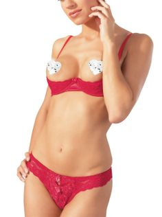 Cottelli Collection Red Lace Open Bra Set £24.99 Lightly padded, underwired bra and open-crotched rio thong set by Cottelli Collection.  www.townoftoys.co.uk