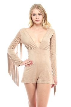 - Suede Romper - Fringe Sleeves  - Low Neckline  - Long Sleeve  - Fits True To Size  - Open Back