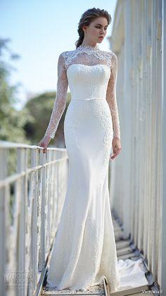 victoria f 2016 bridal high neck lace illusion neckline long sleeves sheath wedding dress