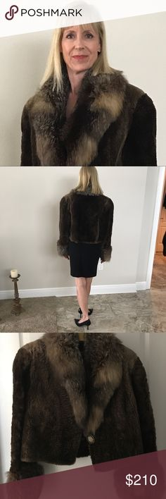 "PRICE DROP 🌸 Sheared Beaver Fur Jacket Fur Collar Gorgeous Sheared Beaver Cropped Fur Bolero Jacket with Accent Fur Trim Collar and Cuffs.  Very Good Condition to Excellent  Beaver is Luxuriously Soft, Supple and Buttery.   Fur Trim Is Fluffy - I believe its Fox Fur Trim.   Set in Sleeves, 2 Side Pockets.  Decorative Black Gold and Mother of Pearl Button    Fully Lined with Black and Gold Greek Key type of design. See lining photo.  Dimensions  Shoulder to Shoulder: 17""  Coat length not…"