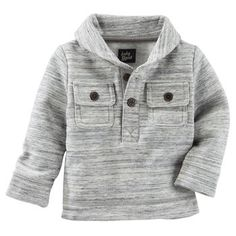 Baby Boy Space-Dyed Shawl Collar Fleece Pullover from OshKosh B'gosh. Shop clothing & accessories from a trusted name in kids, toddlers, and baby clothes. Little Boy Fashion, Kids Fashion Boy, Toddler Boy Outfits, Kids Outfits, Toddler Boys, Kids Clothing Brands, Clothing Accessories, Baby Dress Tutorials, Crochet Baby Sweater Pattern