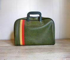 Vintage Retro Green Carry On Luggage by DodoBirdVintage on Etsy, $50.00