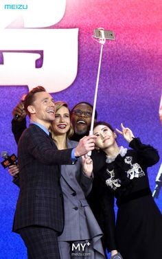 Tom Hiddleston, Brie Larson, Samuel L. Jackson and Jing Tian attend the press conference/ premiere of Kong: Skull Island in Beijing, China on March 16 2017. Source: Weibo http://m.weibo.cn/status/4091463148913234