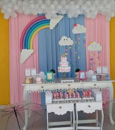 Baby Birthday Cakes, Rainbow Birthday Party, Sons Birthday, Birthday Gifts, Baptism Decorations, Birthday Party Decorations, Baby Shower Decorations, Party Themes, Butterfly Theme Party