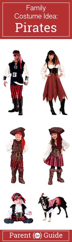 Arrrr.... Set Sail across the seven seas with the best crew a captain could ask for, your family. These pirate costumes will be a hit at any halloween party while you are forcing guests to walk the plank. You can even get your scurvy dog in on the action.