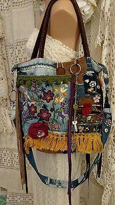 Hecho A Mano Bandolera Hombro Bolsa De Gamuza Denim Flecos Bolso Hippie Boho tmyers   Ropa, calzado y accesorios, Carteras y bolsos de mujer, Carteras y bolsos de mano   eBay!