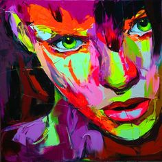 Françoise Nielly's massive, colorful portraits are delicious to look at. Even more wonderful – and particularly infuriating to those of us who have timidly dabbled in painting – is to watch her create them. In a beautiful video posted on her site, she, in her confident, strong hand, wields her painting knife shaped like a miniature garden trowel, and makes painting look easy like cake frosting.