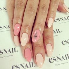 Beautiful nails 2016, Beautiful summer nails, Beige dress nails, Cool nails, Gentle summer nails, Manicure by summer dress, Nails with crosses, Oval nails