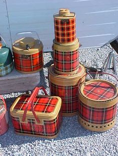 Love the Red Plaid!! My Collection of vintage Picnic Stuff.    Let's go Camping!!