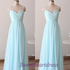 Cute long prom dress with slit, blue chiffon junior prom dress, 2016 handmade evening dress for teens http://sweetheartdress.storenvy.com/products/14467692-modest-light-blue-chiffon-long-sweetheart-a-line-prom-dress-with-straps