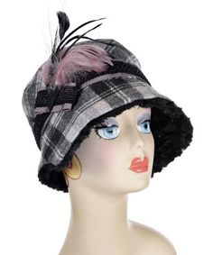 Abigail Style Hat – Wool Plaid in Twilight with Cuddly Black Faux Fur   #ClanDouglas #millinery #hat #hats #passion4hats #pandemonium # feathers #pandemoniumhats #pandemoniummillinery #Seattle #WA #handmade #madeinUSA #fauxfur #crueltyfree #vintage #classic #cancer #chemotherapy #alopecia #hairloss