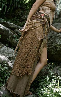 Brown Crochet Fairy Earthy Long skirt with Folk by AnuttaraCrafts
