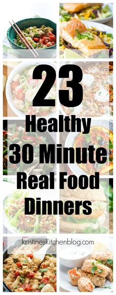 These 23 healthy 30 minute real food dinners make it easy to get a nutritious meal on the table even on busy weeknights! These recipes may be fast & easy, but they are far from boring! Fast Easy Dinner, Fast Dinner Recipes, Fast Dinners, Quick Meals, Breakfast Recipes, Organic Dinner Recipes, Freezer Meals, Easy Healthy Recipes, Real Food Recipes