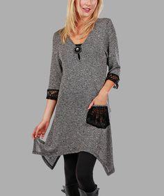 Look at this #zulilyfind! Gray & Black Crochet-Lace Detail Sidetail Tunic - Plus #zulilyfinds