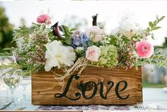 Wooden box centerpiece; garden centerpiece; vintage centerpiece