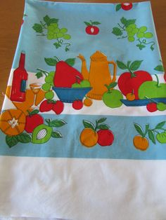 Large Vintage 70s Tablecloth - Blue, Red, Green and Orange - Picnic Table - Cotton Tablecloth - Retro Linen - Cutter Fabric - Fruit by MomsGiftShoppe on Etsy