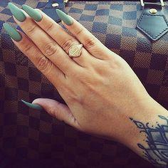 nails, ring, and tattoo image Matte Nails, Stiletto Nails, Acrylic Nails, Teal Nails, Hot Nails, Hair And Nails, Gorgeous Nails, Pretty Nails, Pedicure