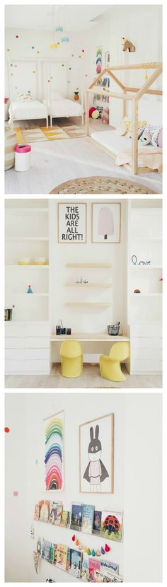 Chambre enfant gaie et colorée en tons pastels | Colourful shared room #KidBedrooms